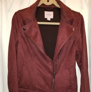 Old Navy Burgundy Faux Suede Jacket